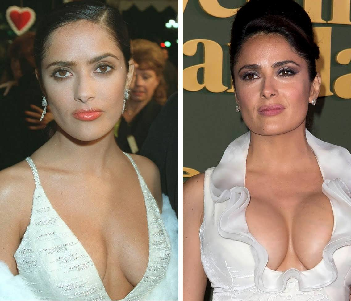 Salma Hayek boob job before and after